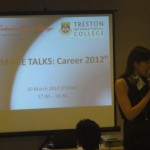 Carol Tan gives an image talk during Career 2012 event at Treston International College
